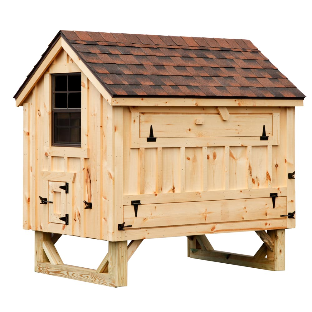 Cottage style 4x6 chicken coop up to 15 chickens for Hen house design plans
