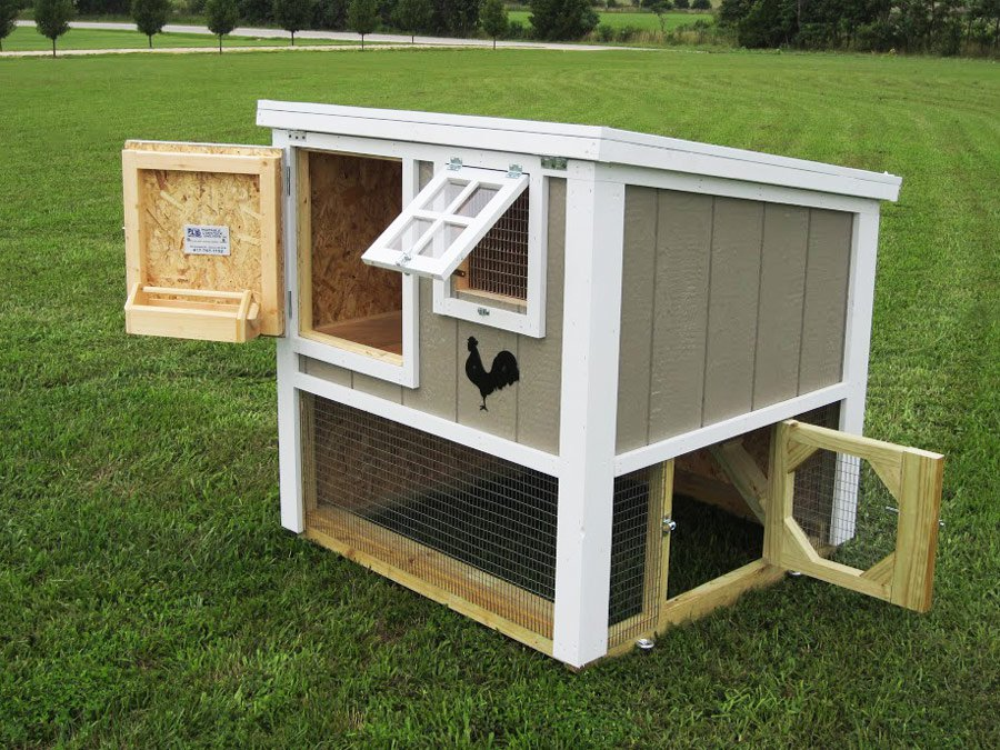 All doors and windows open & The Loft Chicken Coop (up to 6 chickens) from My Pet Chicken