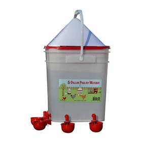 5 Gal Bucket Waterer with Nipples & Cups (up to 25 chickens)