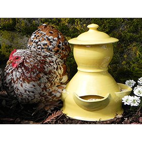 Artisan Ceramic Chicken Feeder