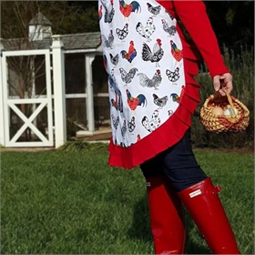 Apron, Rooster Print with Ruffle