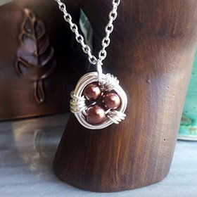 Pearl Egg Nest Necklace (your choice of color)