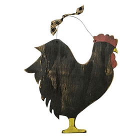 Wood Rooster w/ Hanger