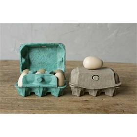 Pulp Egg Carton - Six Wood Eggs, 2 colors