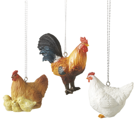 Hanging Chicken Ornaments, 3 assorted