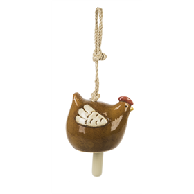 Hanging Chicken Bell, Glazed Stoneware