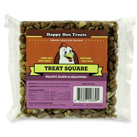Happy Hen Treats Treat Square, Peanut, Raisin & Mealworm