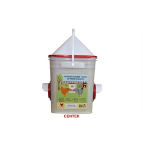 Waste-Free Chicken Bucket Feeder, with cone, Dual Port, Holds 20lbs