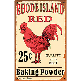 Rhode Island Red Baking Powder Tin Sign