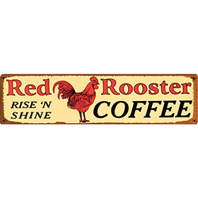 Red Rooster Coffee Tin Sign
