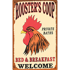 Rooster's Coop Bed & Breakfast Tin Sign