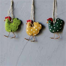 Hand-Painted Tin Chicken Ornament