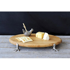 Cheese Board w/Chicken Feet, Toothpick Holder