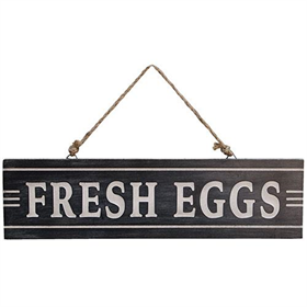 Fresh Eggs Sign with Jute Hanger
