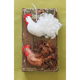 Glitter and Feather Rooster Ornament