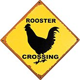 Rooster Crossing Tin Sign