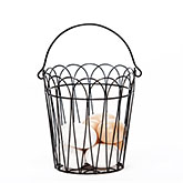 Wire Basket with Eight Wooden Eggs
